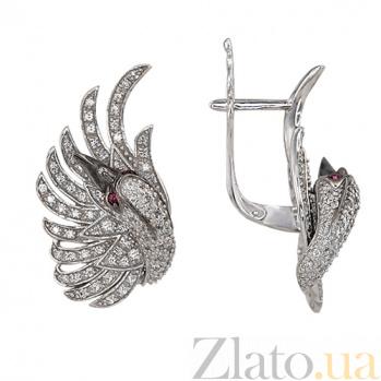 Серьги Лебедь в белом золоте с цирконием VLT--ТТ2556