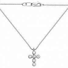 Колье с крестиком из белого золота с бриллиантами 000131661