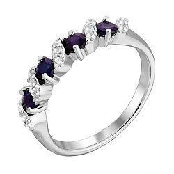 Серебряное кольцо с сапфирами и фианитами 000125044