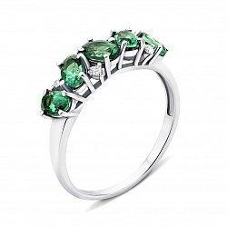 Серебряное кольцо с зеленым кварцем и фианитами 000134176