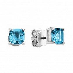 Серебряные серьги-пуссеты с голубыми топазами 000133662
