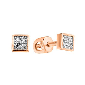 Золотые серьги-пуссеты с усыпкой бриллиантов 000104547