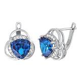 Серебряные серьги с синими фианитами Аргентея