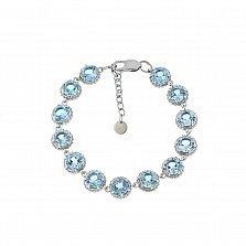 Серебряный браслет Мелани с голубыми фианитами, 10мм