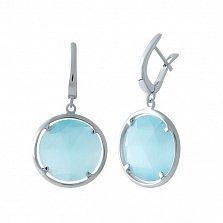 Серебряные серьги-подвески Атлантика с голубым кошачьим глазом