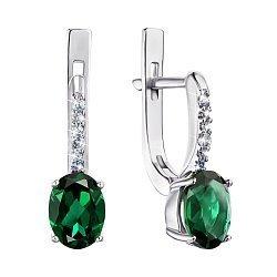Серебряные серьги с зеленым кварцем и фианитами 000064442