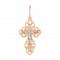 Золотой православный крестик в комбинированном цвете 000129472