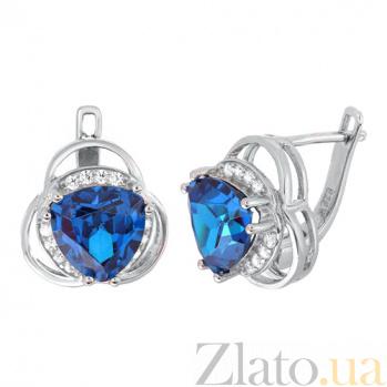 Серебряные серьги с синими фианитами Аргентея SLX--СК2ФЛТ/381