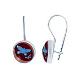 Серебряные серьги с муранским стеклом Небесные бабочки