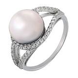 Серебряное кольцо Алевтина с белым жемчугом