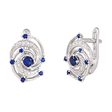 Серебряные сережки с синим цирконием Galaxy
