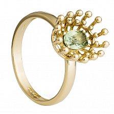 Золотое кольцо с цветным сапфиром Ванесса