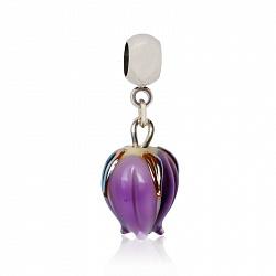 Серебряный шарм Фиолетовый тюльпан с муранским стеклом