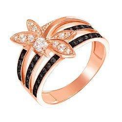 Золотое кольцо Стрекоза в комбинированном цвете с черными и белыми фианитами