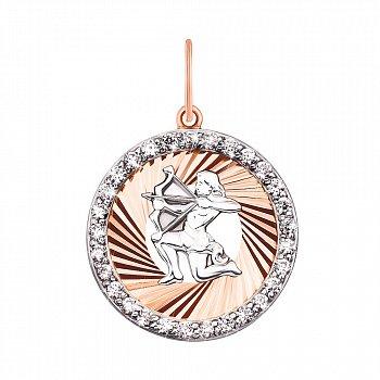 Золотий кулон Знак Зодіаку Стрілець в комбінованому кольорі з фіанітами і алмазною гранню 000123630