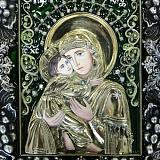 """Икона Божья Матерь """"Владимирская"""" с эмалью и фианитами"""