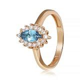 Золотое кольцо с топазом и фианитами Винтер