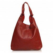 Кожаная сумка на каждый день 8425 в красном цвете с двумя ручками и декоративным тиснением