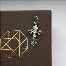 Крестик из серебра родированый Ангел Хранитель