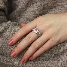 Серебряное кольцо Алиса с розовым и белым цирконием