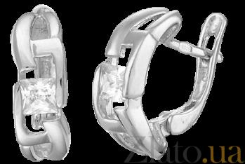 Серьги из серебра с фианитами Пэрис SLX--С2Ф/003