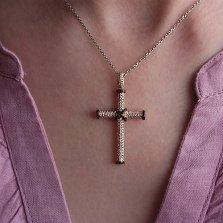 Золотой крест Альвен с белыми и черными бриллиантами