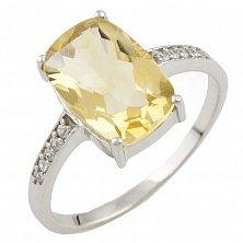 Серебряное кольцо Глафира с цитрином и фианитами