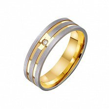 Золотое обручальное кольцо Моя нежная мелодия с фианитом