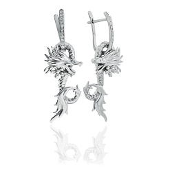 Серебряные серьги-трансформеры Царство дракона с кристаллами циркония