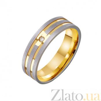 Золотое обручальное кольцо Моя нежная мелодия с фианитом TRF--432265