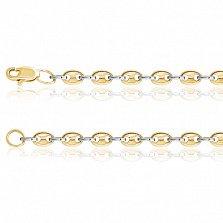 Золотая цепь Valleri в желто-белом цвете металла