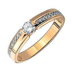 Золотое кольцо в комбинированном цвете с цирконием 000141407