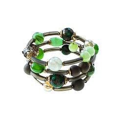 Спиральный браслет Летние краски с кварцем, друзом, муранским стеклом и кристаллами Swarovski