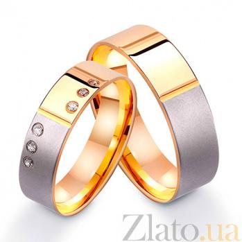 Золотое обручальное кольцо Ты мой мир с фианитами TRF--412252