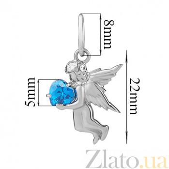 Серебряный подвес с голубым фианитом Амурчик PTL--7п267/07