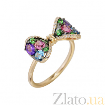 Золотое кольцо с аметистами, бриллиантами, топазами, цаворитами и турмалинами Бант 000032285