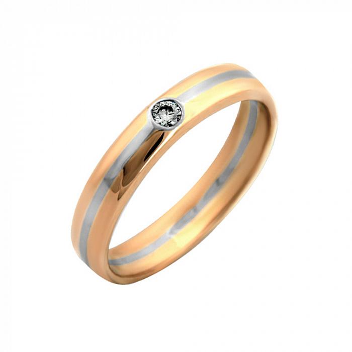 Золотое обручальное кольцо Зов сердца в комбинированном цвете с бриллиантом VLA--14310