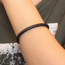 Черный плетеный кожаный браслет Стиль с серебряным узорным замком и золотыми накладками, 4мм