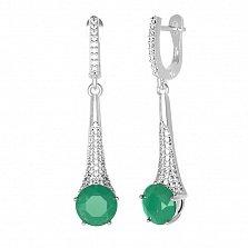 Серебряные серьги Эмили с зеленым агатом и фианитами