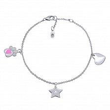Серебряный браслет Лапка с сердцем с розовой эмалью и подвесками,10х10 мм
