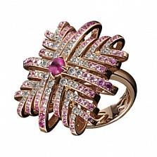 Золотое кольцо с рубином, сапфирами и бриллиантами Лавиния