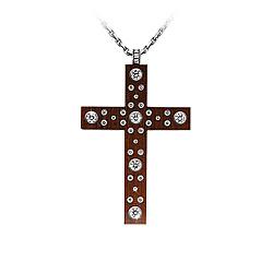 Золотой крест с деревом Тайгервуд и бриллиантами Млечный путь 000029514