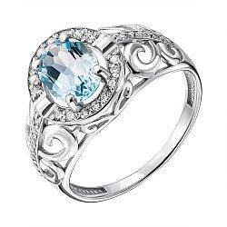Серебряное кольцо с голубым топазом и фианитами 000137477