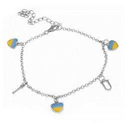 Серебряный браслет с разноцветной эмалью Люблю Украину 000025905