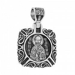 Узорная серебряная ладанка Святой Николай с молитвой и чернением 000130918