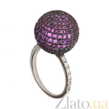 Золотое кольцо Сфера с фиолетовыми и белыми фианитами VLT--Т1133