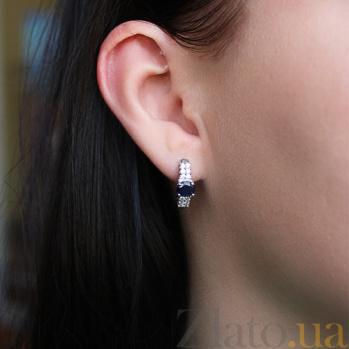 Серебряные сережки с сапфирами и фианитами Лауретта 44062