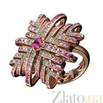 Золотое кольцо с рубином, сапфирами и бриллиантами Лавиния KBL--К1826/крас/руб