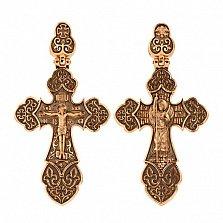 Золотой крестик с черным родированием Архангел