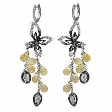 Серьги-подвески из белого золота Дариана с бриллиантами и кварцем цвета шампань